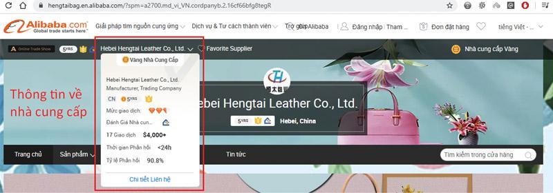 Thông tin chi tiết của shop bán hàng trên Alibaba